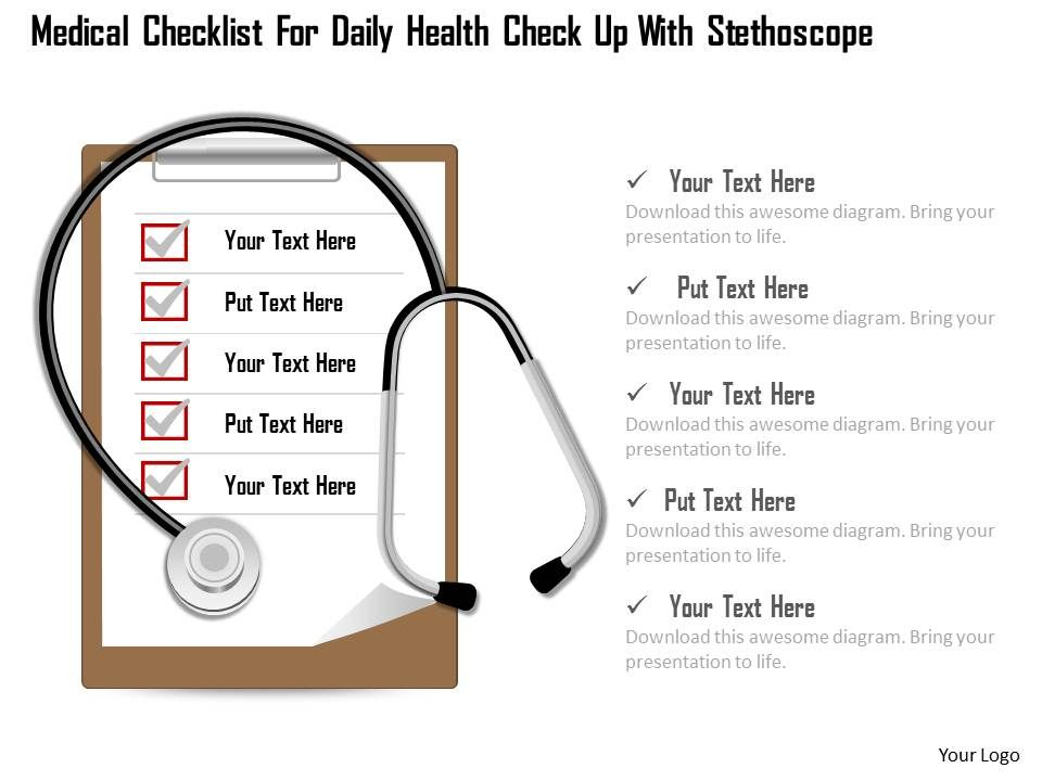 1114 medical checklist for daily health check up with stethoscope, Powerpoint templates