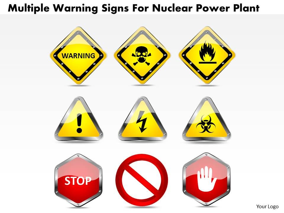 1114 multiple warning signs for nuclear power plant powerpoint, Powerpoint templates