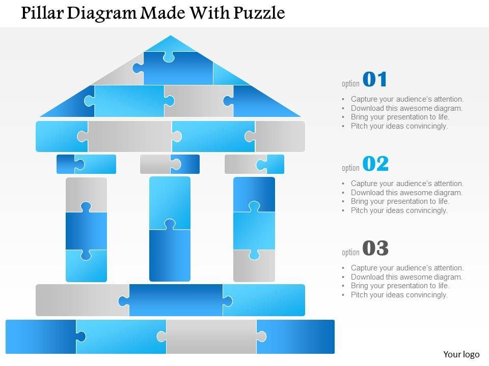 1114 Pillar Diagram Made With Puzzle Powerpoint Template