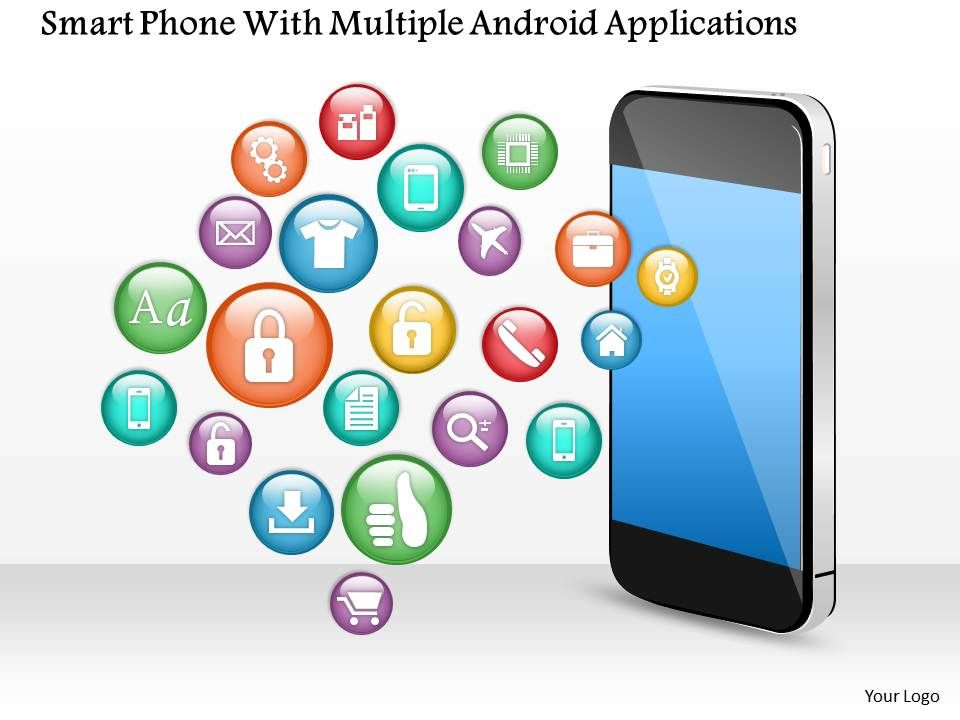 1114 Smart Phone With Multiple Android Applications Powerpoint