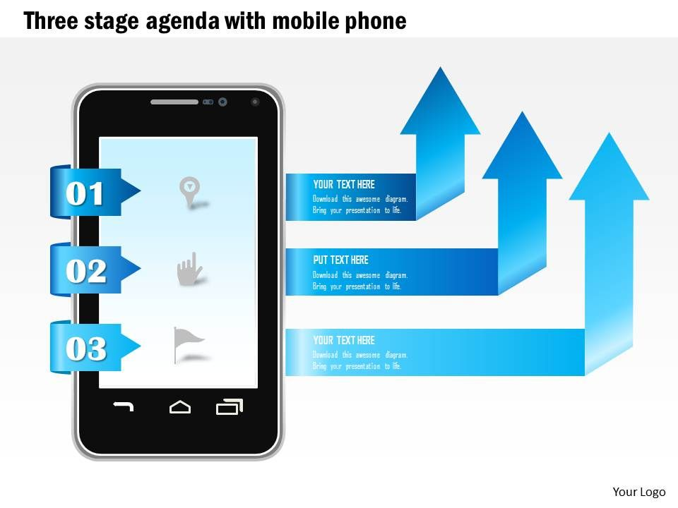 1114_three_stage_agenda_with_mobile_phone_and_arrows_coming_out_ppt_slide_Slide01