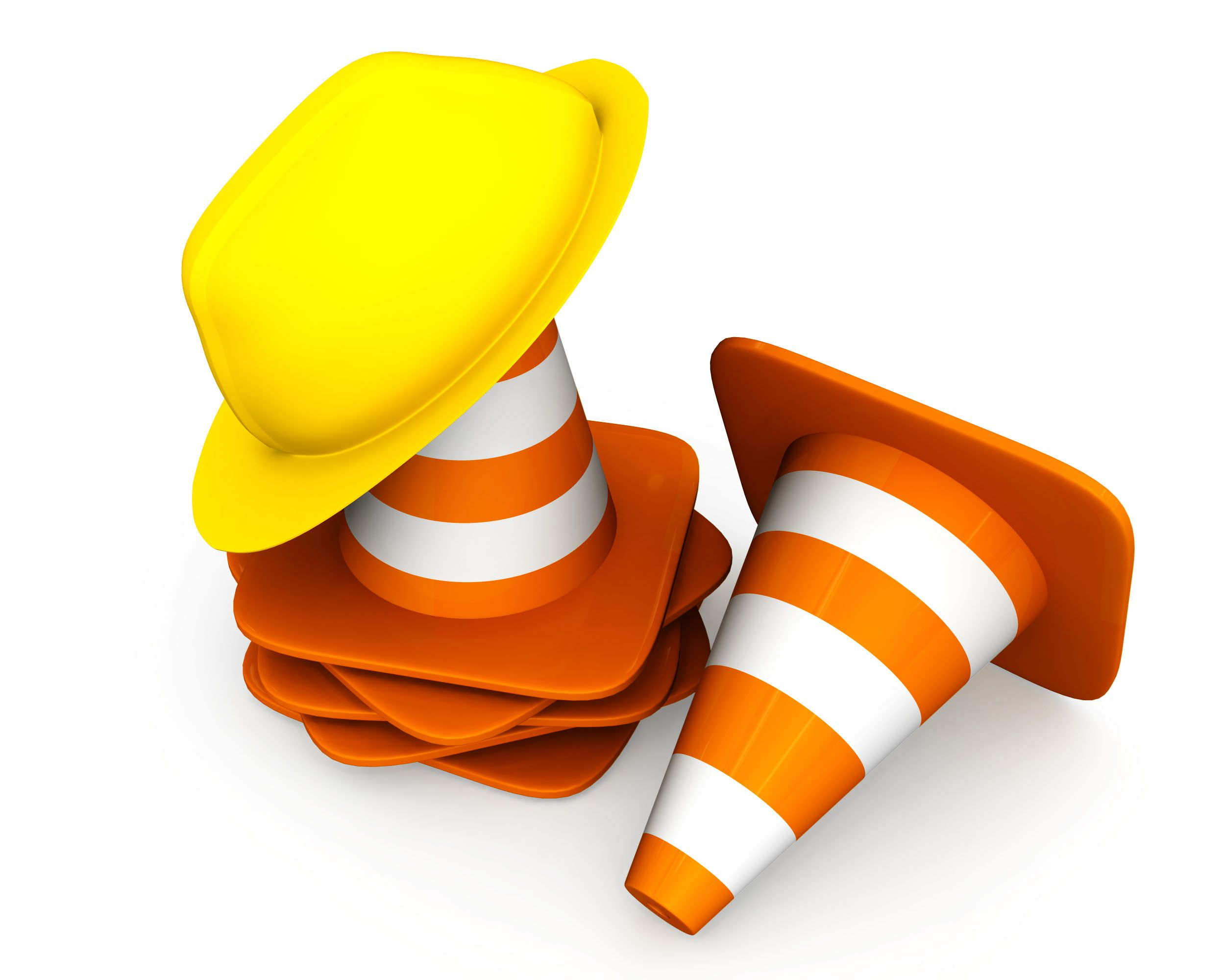 1114 Traffic Cones With Helmet For Road Safety Stock Photo