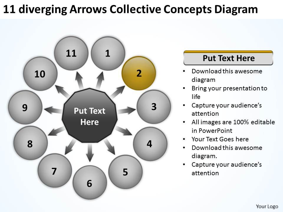 11 Diverging Arrows Collective Concepts Diagram Circular