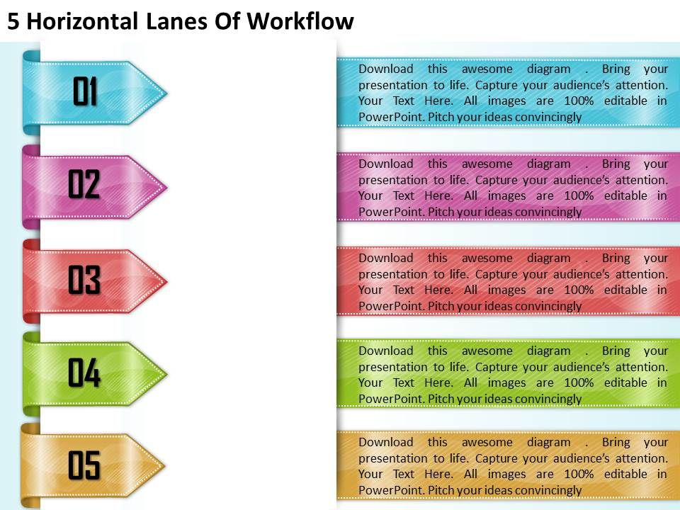 1213 business ppt diagram 5 horizontal lanes of workflow 1213businesspptdiagram5horizontallanesofworkflowpowerpointtemplateslide01 toneelgroepblik Image collections