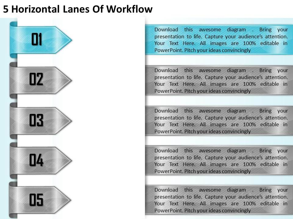 1213_business_ppt_diagram_5_horizontal_lanes_of_workflow_powerpoint_template_Slide02