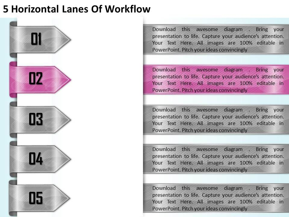 1213_business_ppt_diagram_5_horizontal_lanes_of_workflow_powerpoint_template_Slide03