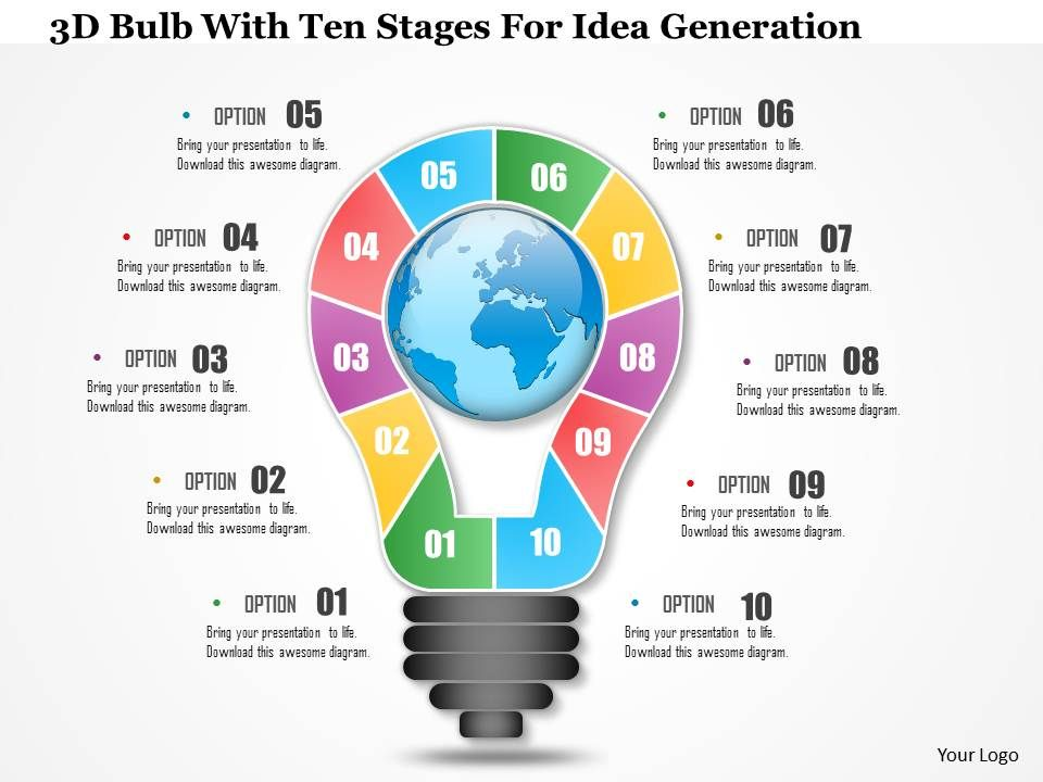 1214_3d_bulb_with_ten_stages_for_idea_generation_powerpoint_presentation_Slide01