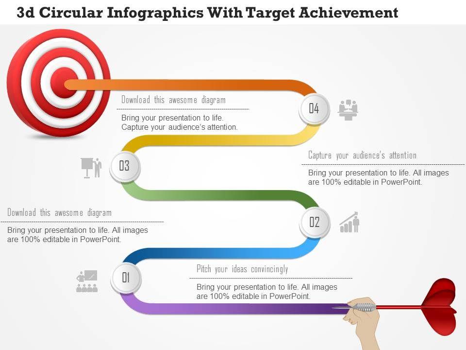 1214 3d circular infographics with target achievement powerpoint, Achievement Presentation Template, Presentation templates