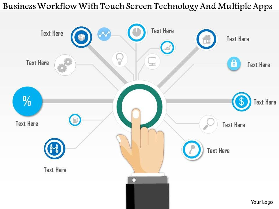 1214 Business Workflow With Touch Screen Technology And Multiple Apps Powerpoint Template Slide01