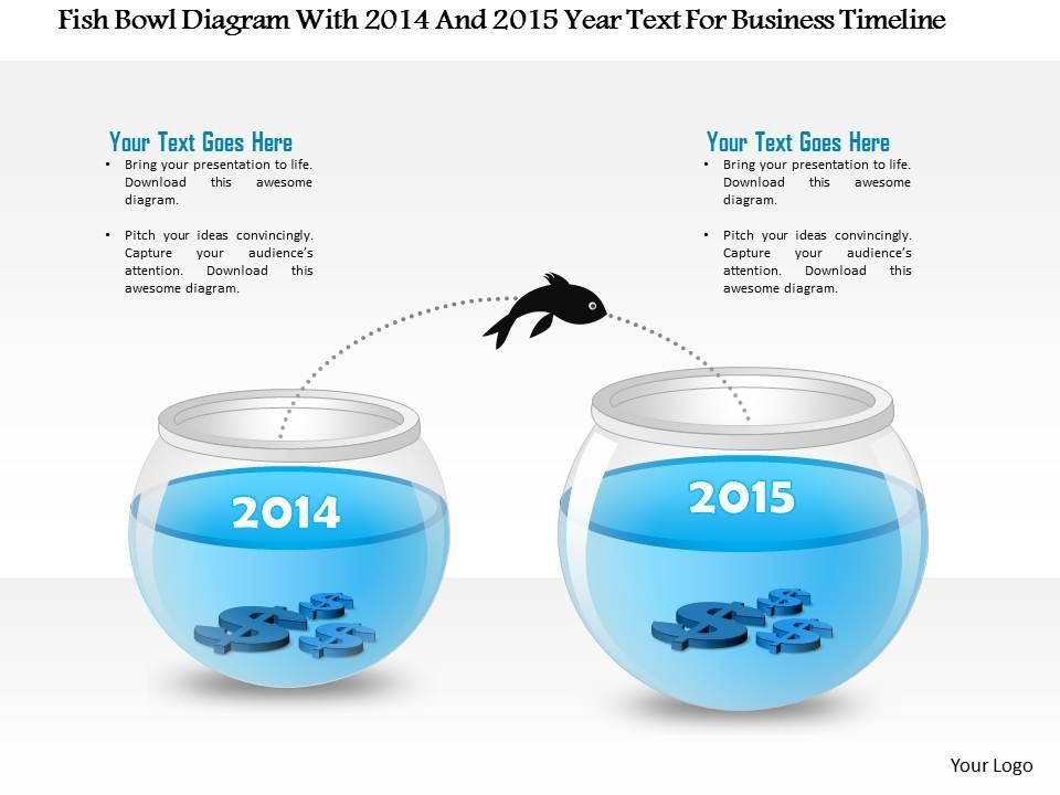 1214_fish_bowl_diagram_with_2014_and_2015_year_text_for_business_timeline_powerpoint_presentation_Slide01
