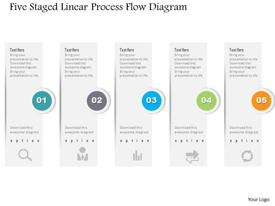 1214 five staged linear process flow diagram powerpoint template