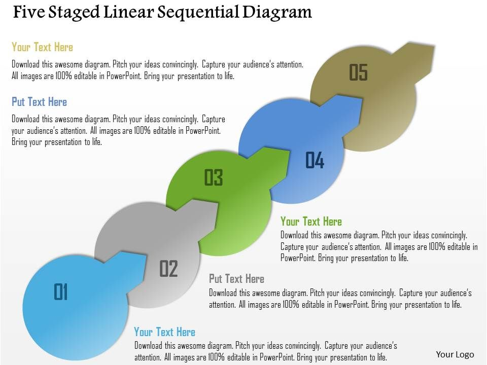 1214 Five Staged Linear Sequential Diagram Powerpoint Template