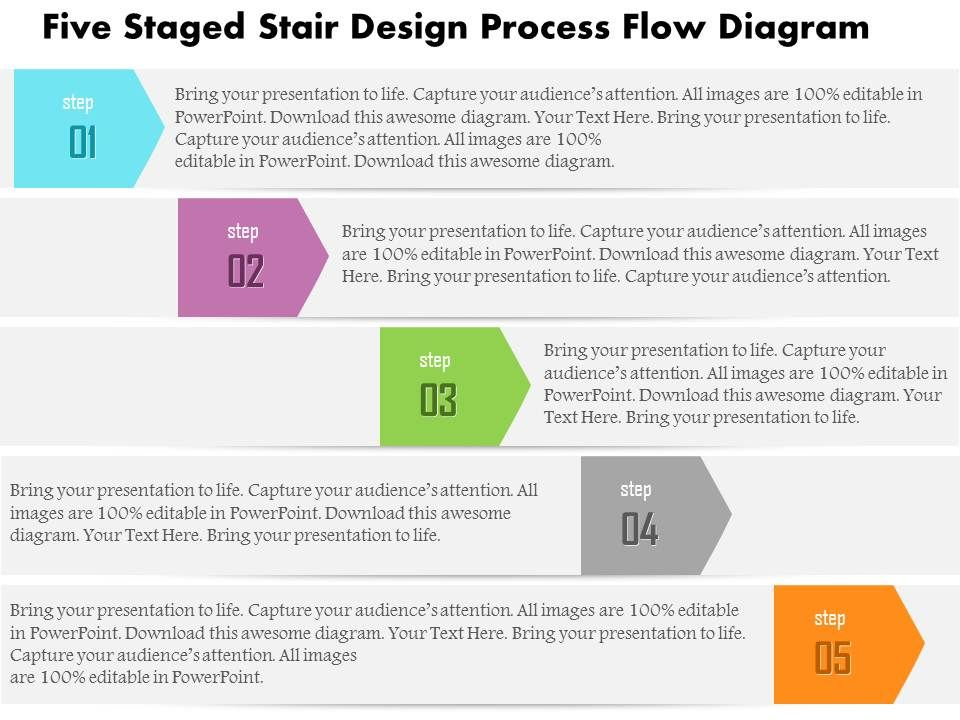 1214 Five Staged Stair Design Process Flow Diagram Powerpoint