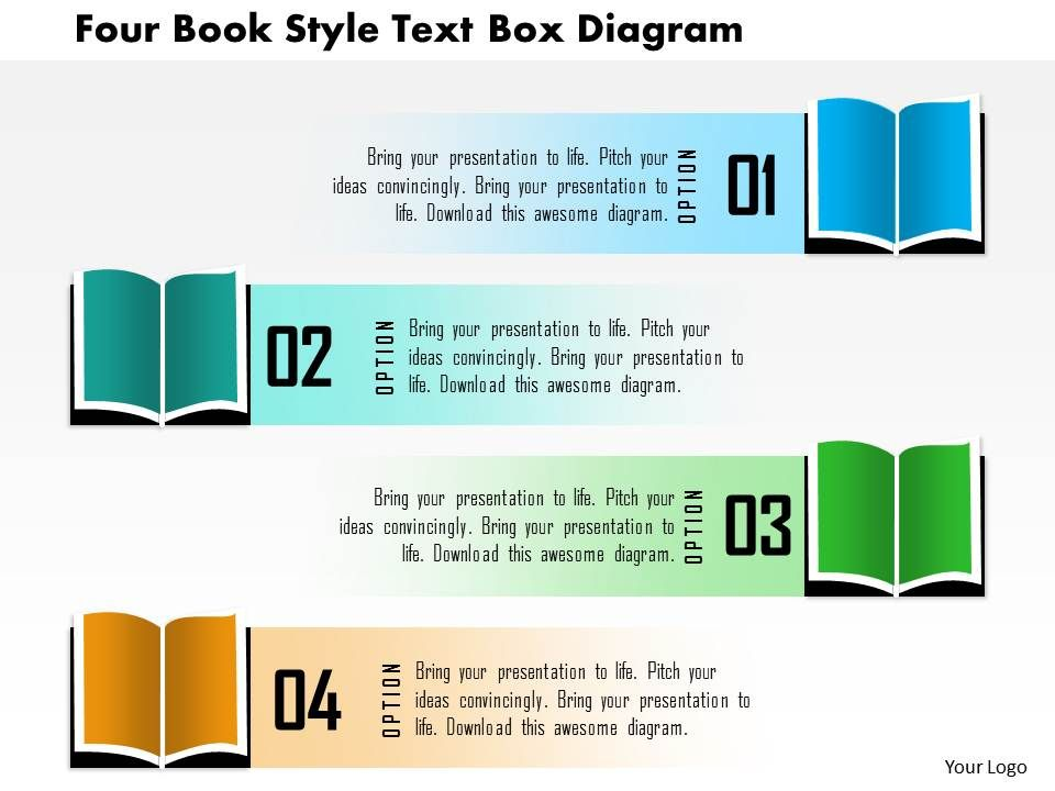 1214 four book style text box diagram powerpoint template, Modern powerpoint