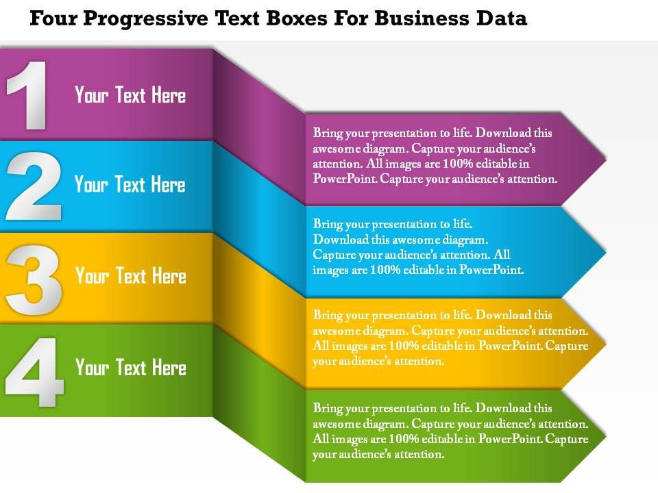 1214 four progressive text boxes for business data powerpoint great editable diagrams 1214_four_progressive_text_boxes_for_business_data_powerpoint_presentation_slide01