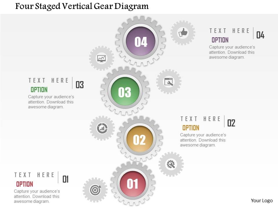 1214_four_staged_vertical_gear_diagram_powerpoint_template_Slide01