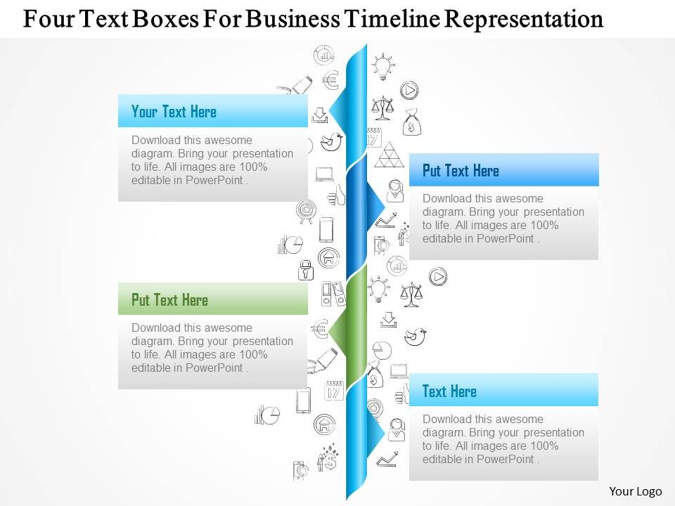 Four Text Boxes For Business Timeline Representation Powerpoint