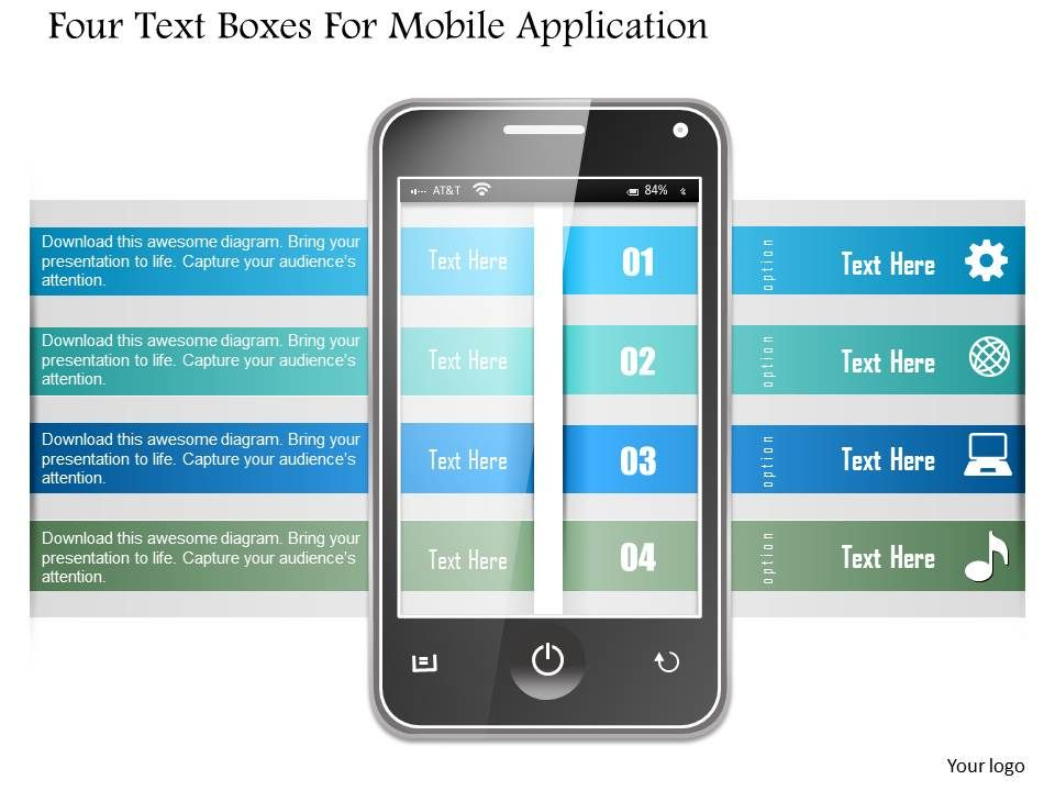 1214 four text boxes for mobile application powerpoint template, Presentation templates