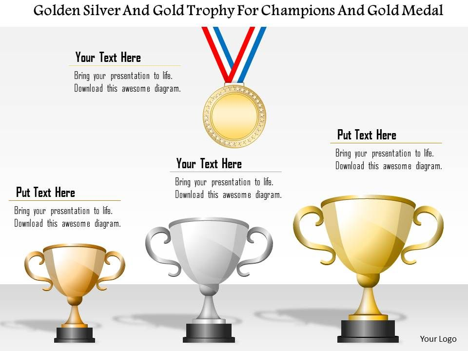 1214 Golden Silver And Bronze Trophy For Champions Gold Medal Powerpoint Template Slide01