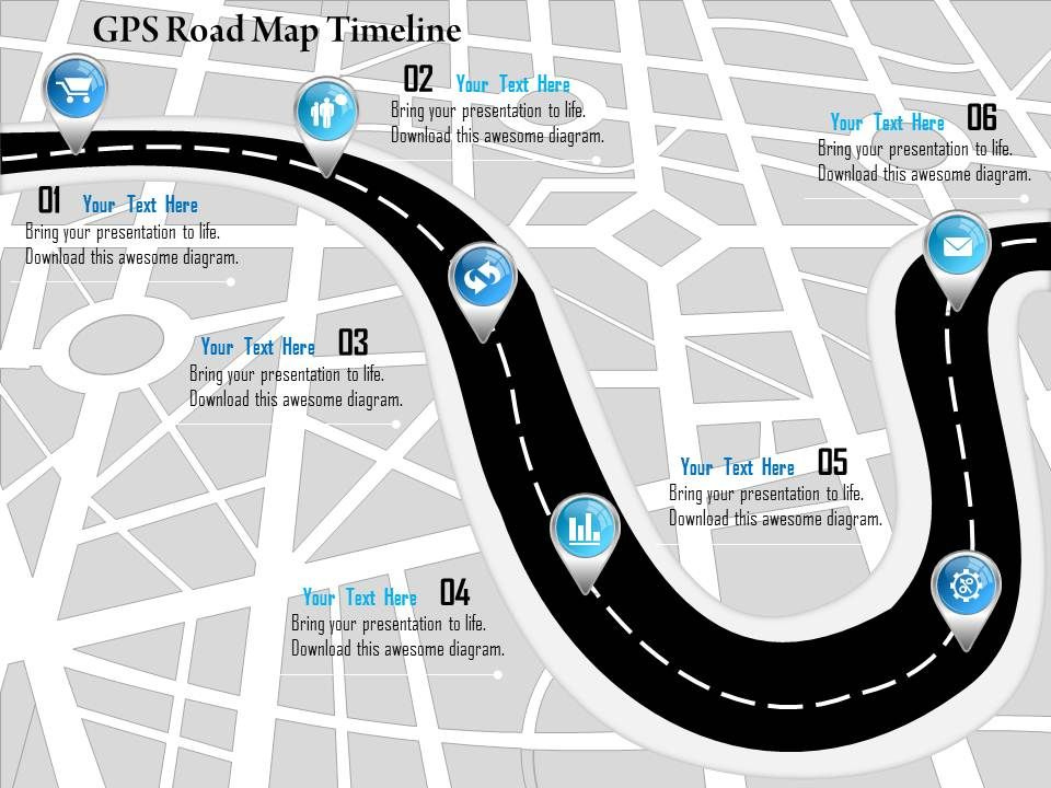 Gps Road Map 1214 Gps Road Map Timeline Powerpoint Presentation | PowerPoint  Gps Road Map