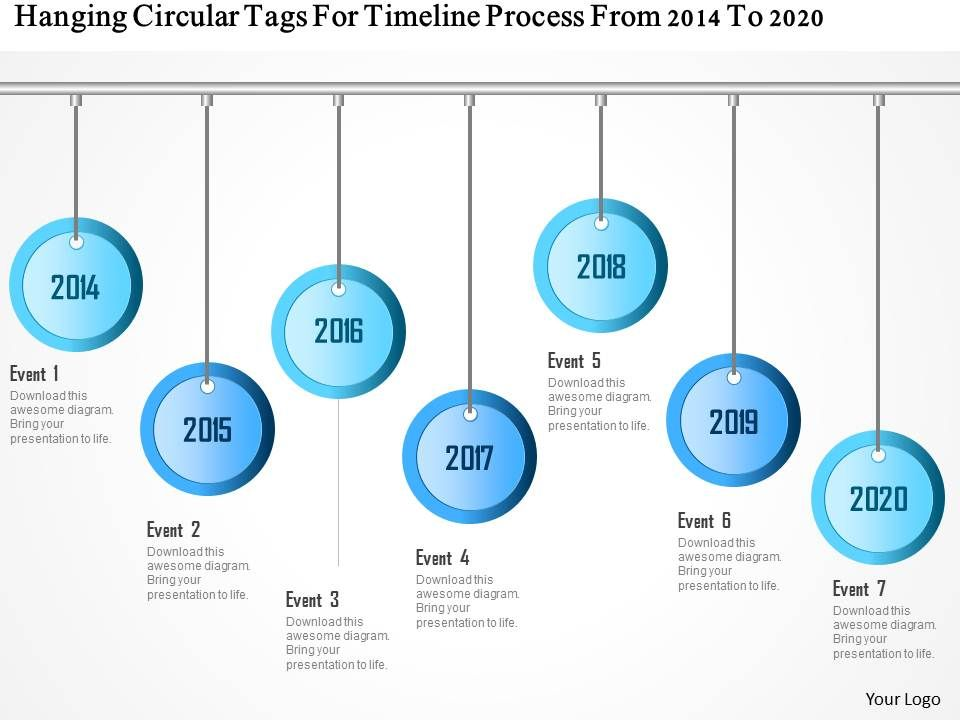 1214 hanging circular tags for timeline process from 2014 to 2020, Presentation templates