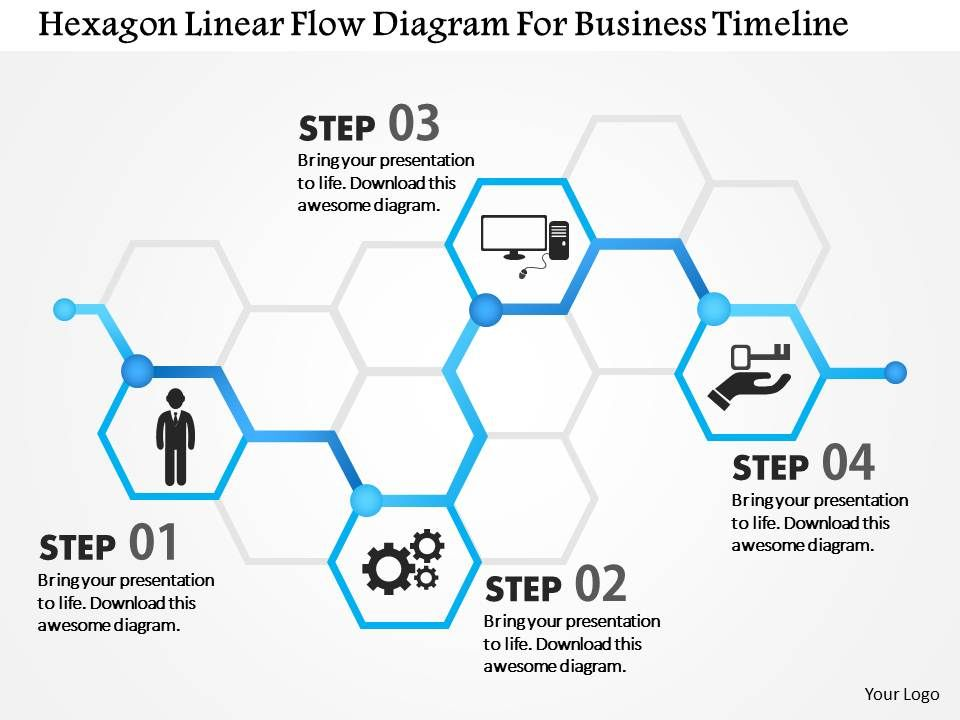 1214 Hexagon Linear Flow Diagram For Business Timeline Powerpoint
