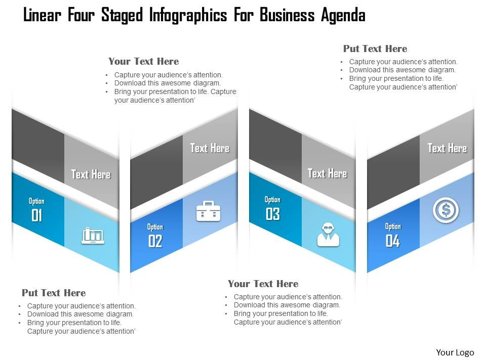 1214 linear four staged infographics for business agenda powerpoint