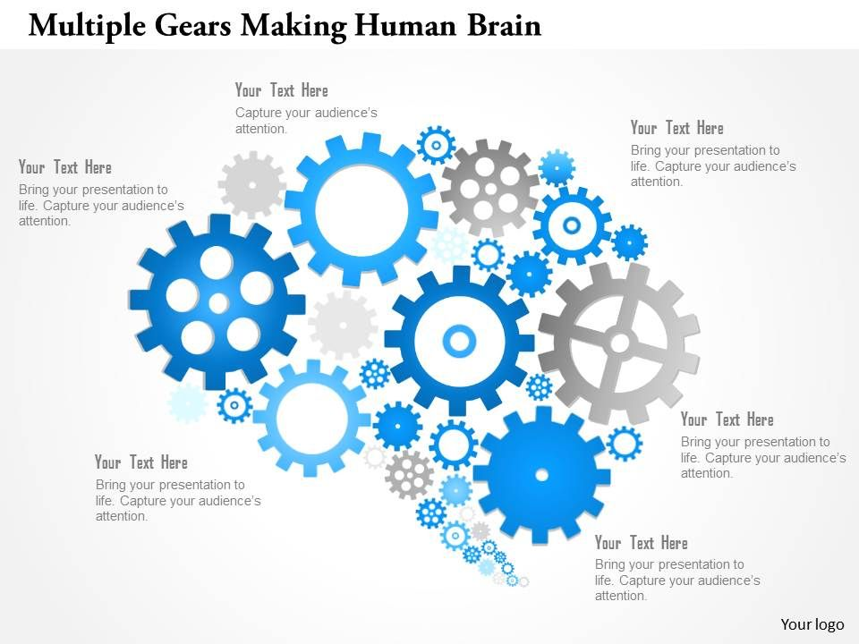 Multiple Gears Making Human Brain Powerpoint Template  Ppt