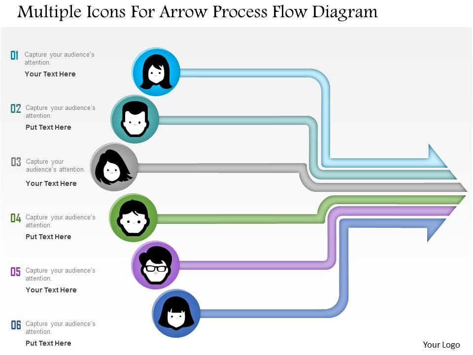 1214 multiple icons for arrow process flow diagram powerpoint