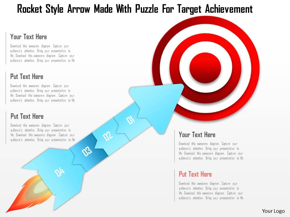 1214 rocket style arrow made with puzzle for target achievement, Presentation templates