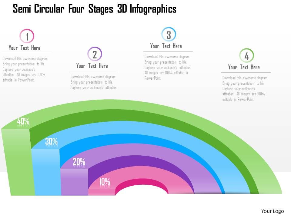 1214 Semi Circular Four Stages 3d Infographics Powerpoint Template