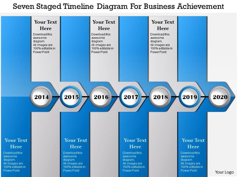 1214 seven staged timeline diagram for business achievement, Achievement Presentation Template, Presentation templates