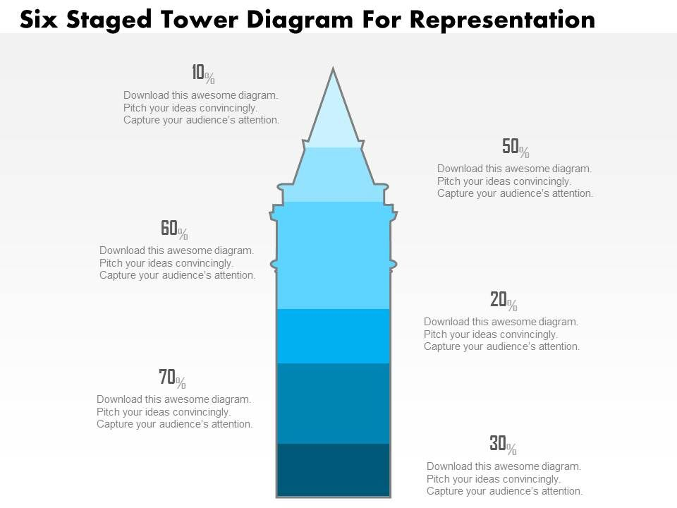 1214_six_staged_tower_diagram_for_representation_powerpoint_slide_Slide01
