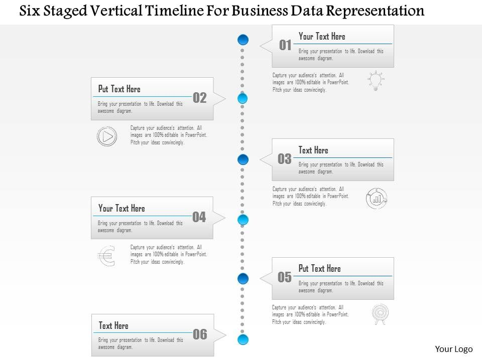 1214 six staged vertical timeline for business data representation