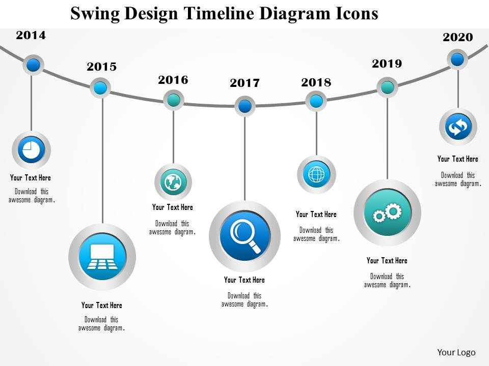 1214 Swing Design Timeline Diagram Icons Powerpoint