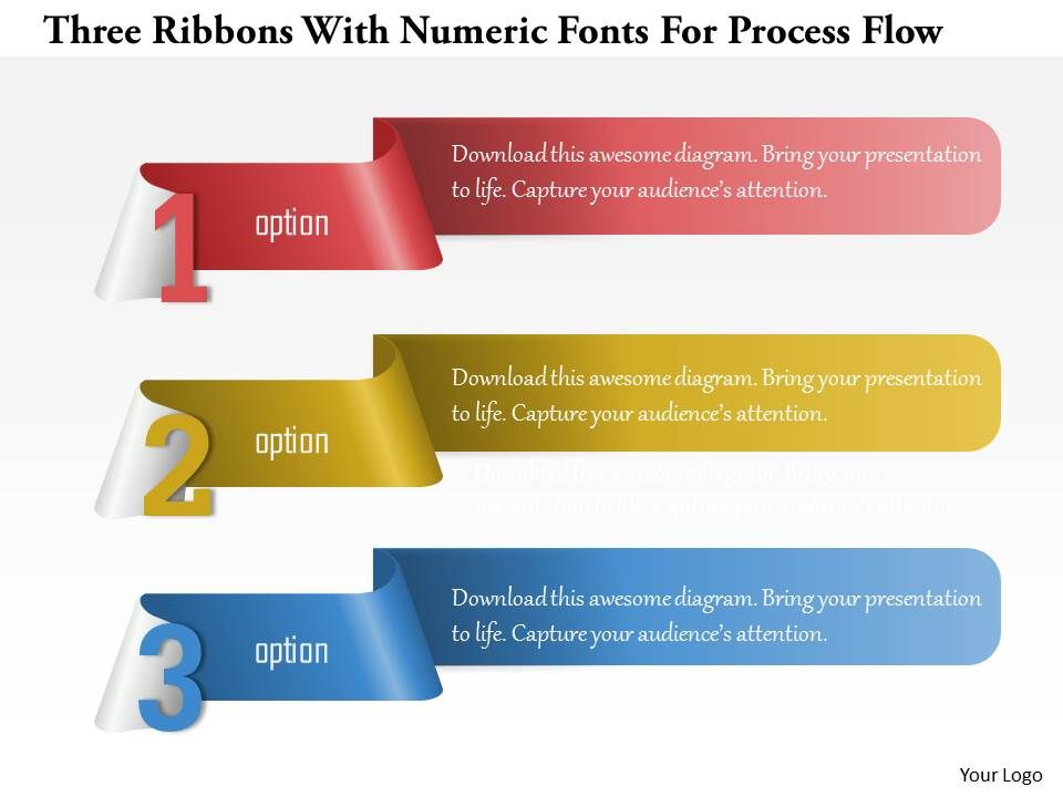 1214 three ribbons with numeric fonts for process flow powerpoint, Modern powerpoint
