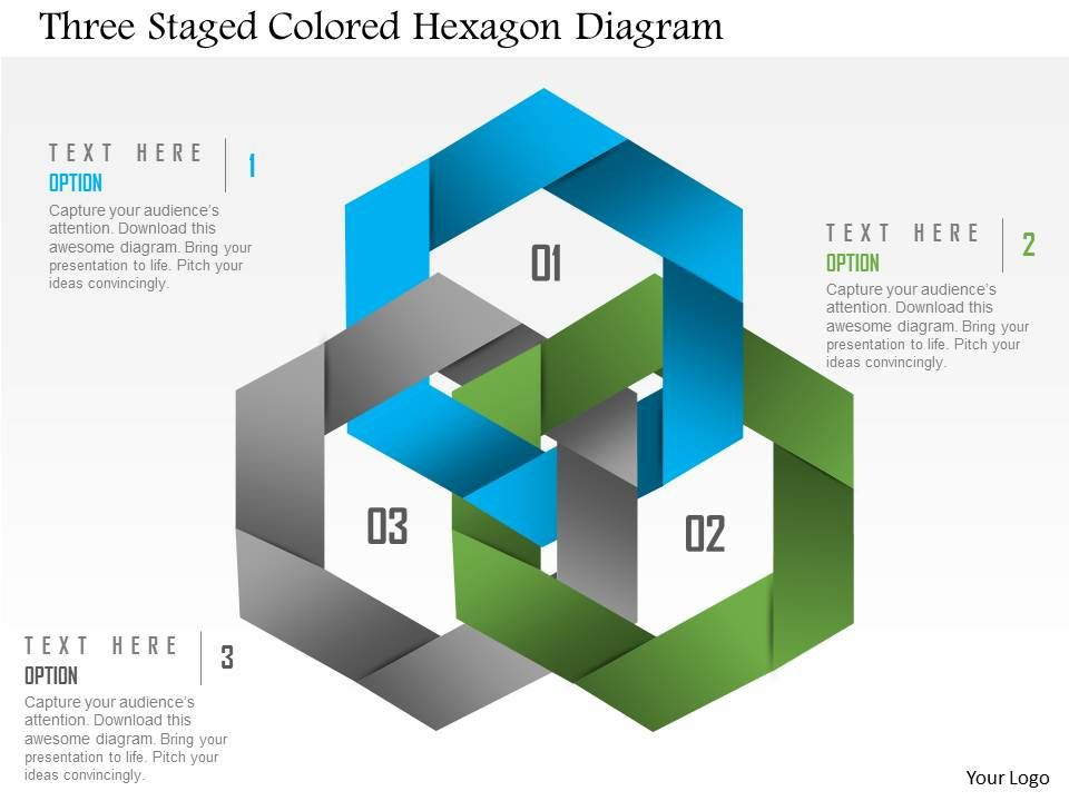 1214 Three Staged Colored Hexagon Diagram Powerpoint Template