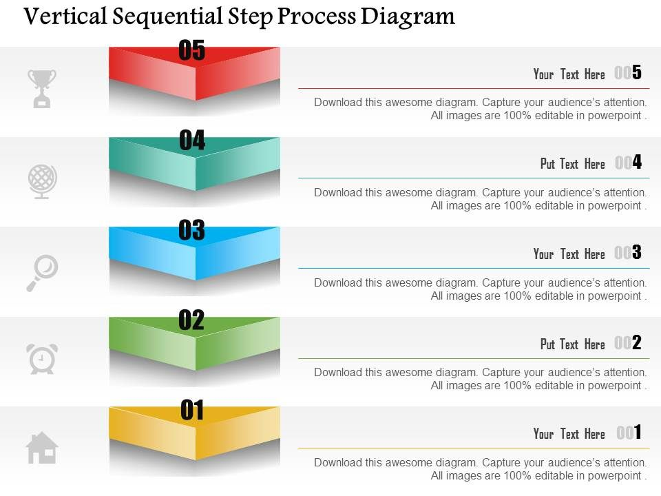 1214 Vertical Sequential Step Process Diagram Powerpoint Template