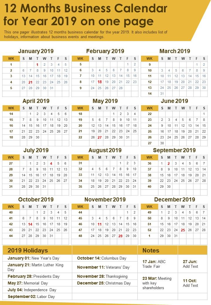 12 Months Business Calendar For Year 2019 On One Page Presentation Report Infographic PPT PDF Document