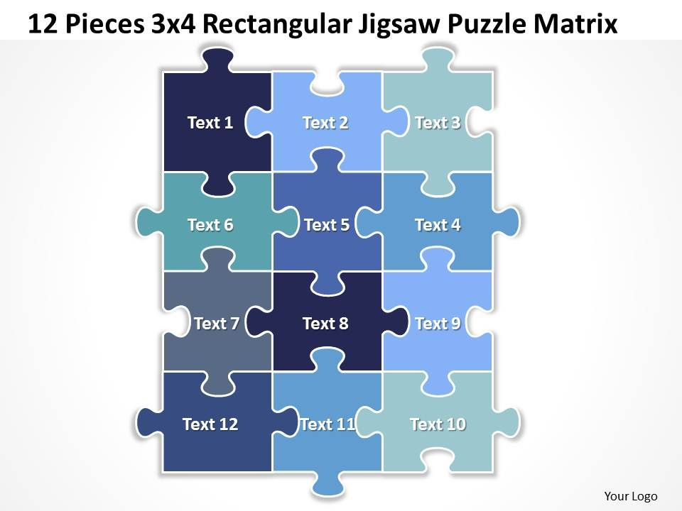 12 pieces 3x4 rectangular jigsaw puzzle matrix powerpoint, Modern powerpoint