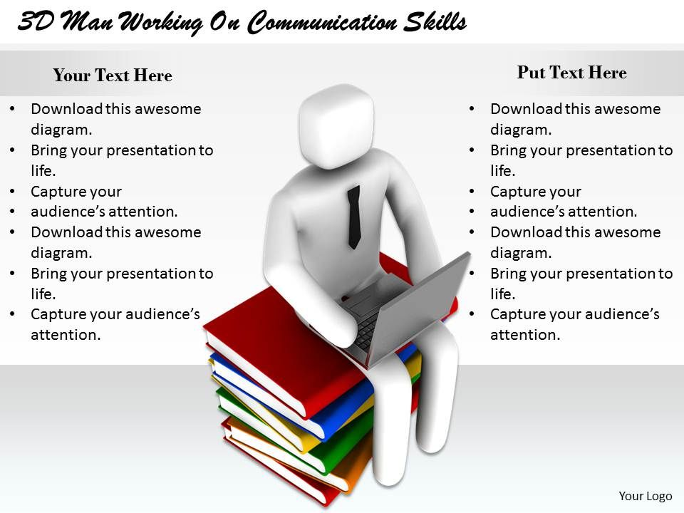 D Man Working On Communication Skills Ppt Graphics Icons