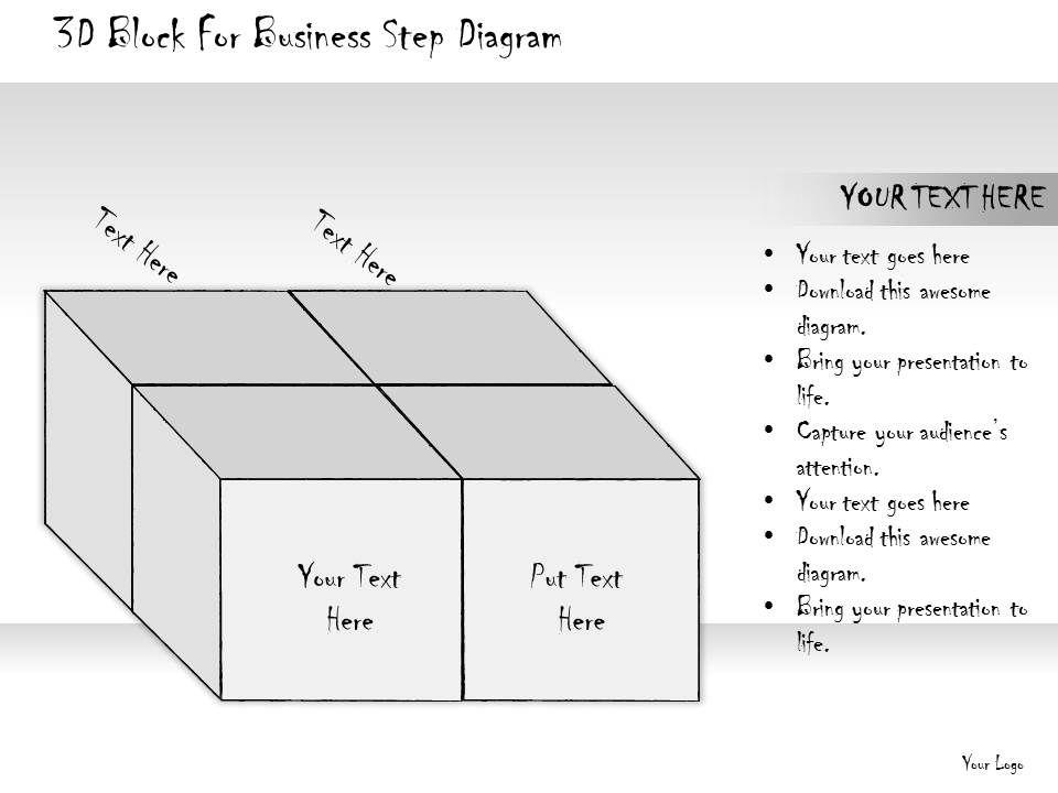 1814 business ppt diagram 3d block for business step. Black Bedroom Furniture Sets. Home Design Ideas
