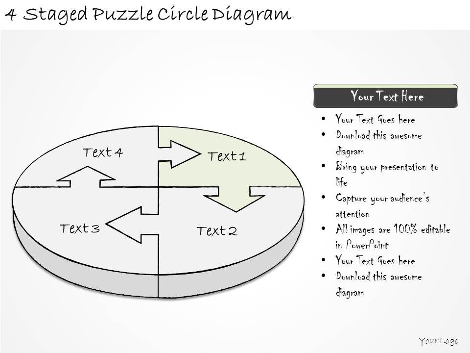 1814 business ppt diagram 4 staged puzzle circle diagram