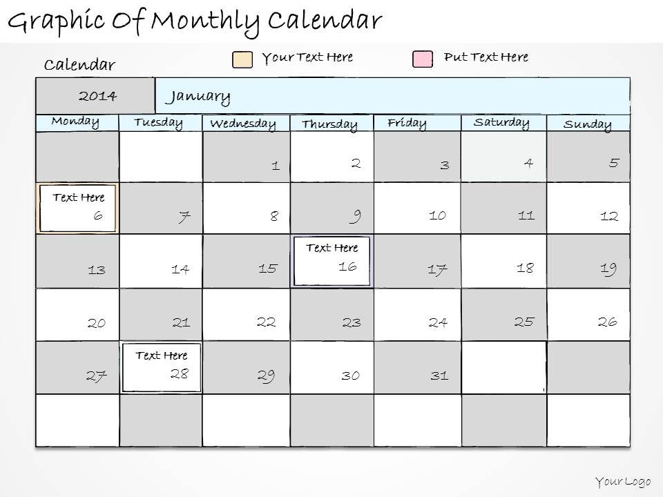 1814 Business Ppt Diagram Graphic Of Monthly Calendar Powerpoint