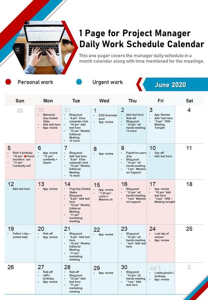 1 Page For Project Manager Daily Work Schedule Calendar Presentation Report Infographic PPT PDF Document