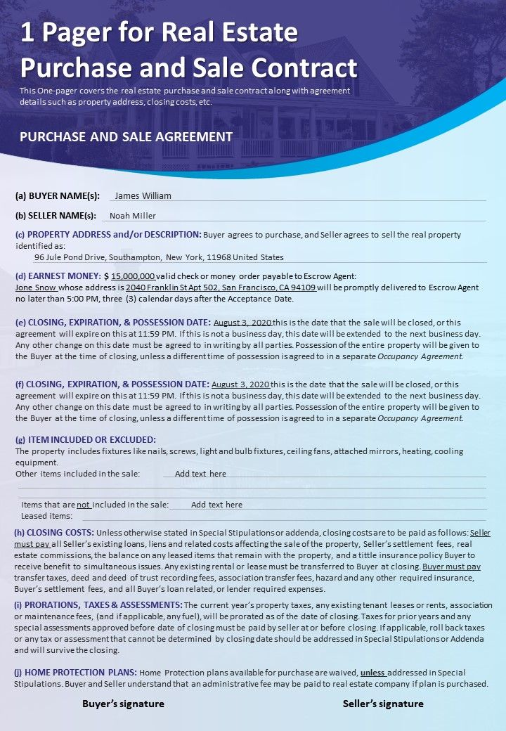 1 Pager For Real Estate Purchase And Sale Contract Presentation Report Infographic Ppt Pdf Document Presentation Graphics Presentation Powerpoint Example Slide Templates