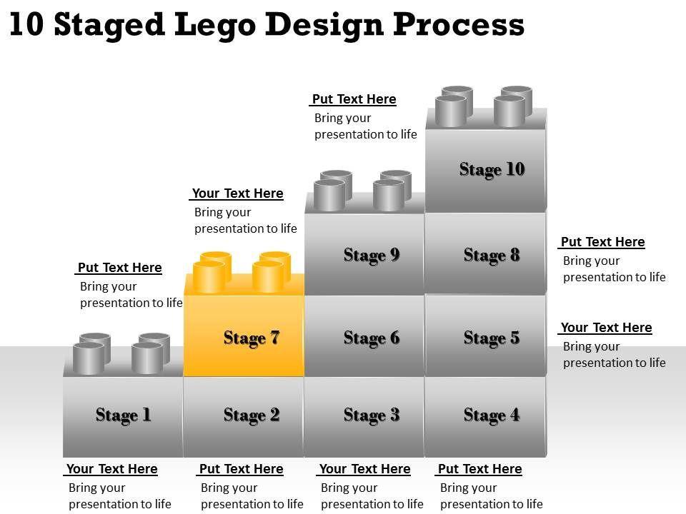2013 business ppt diagram 10 staged lego design process