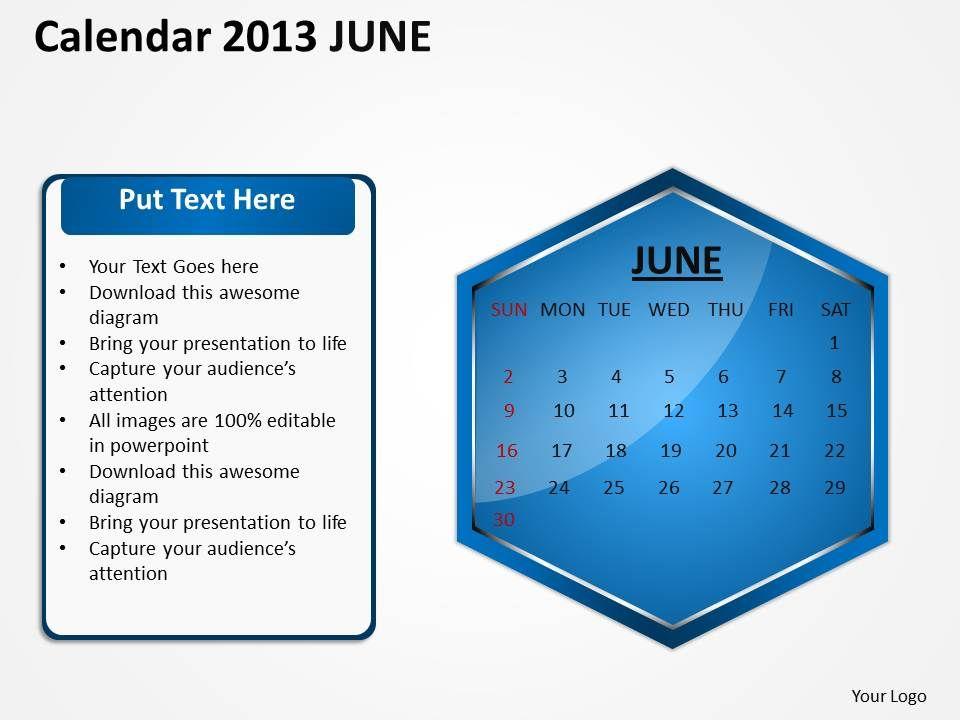 2013_june_calendar_powerpoint_slides_ppt_templates_Slide01