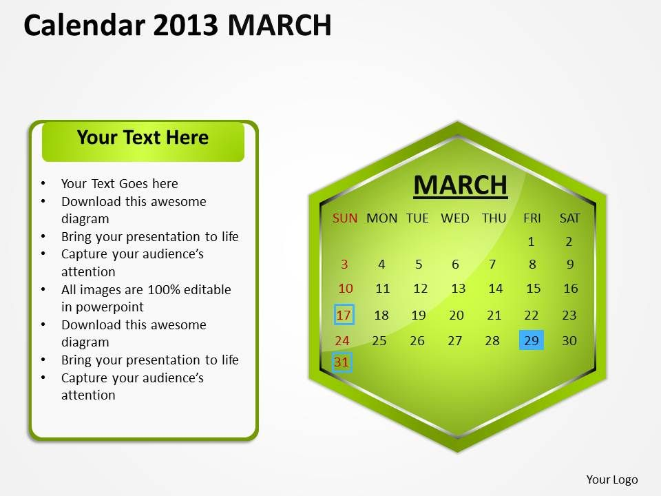 2013_march_calendar_powerpoint_slides_ppt_templates_Slide01