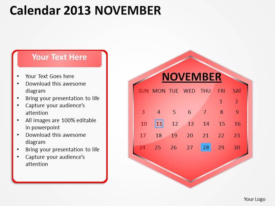 2013 november calendar powerpoint slides ppt templates powerpoint